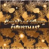 Σχέδιο καρτών Χριστουγέννων χαιρετισμού με το κωνοφόρο, τους κώνους πεύκων και την εγγραφή απεικόνιση αποθεμάτων