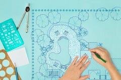 Σχέδιο κατωφλιών σχεδίου αρχιτεκτόνων τοπίου σχεδιαγραμμάτων Στοκ Φωτογραφίες