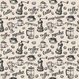 Σχέδιο καφέ Τα ονόματα των διαφορετικών τύπων καφέδων ελεύθερη απεικόνιση δικαιώματος