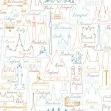 Σχέδιο κεραμιδιών παγκόσμιων ορόσημων ταξιδιού Σύνολο εικονιδίων θέας ταξιδιού Στοκ εικόνα με δικαίωμα ελεύθερης χρήσης
