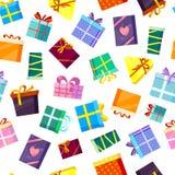 Σχέδιο κιβωτίων δώρων ο χρωματισμένος βαλεντίνος Χριστουγέννων και άλλοι εορτασμοί παρουσιάζουν το κιβώτιο αγορών αιφνιδιαστικών  απεικόνιση αποθεμάτων