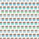 Σχέδιο κιβωτίων δώρων Χριστουγέννων Εορτασμός που επαναλαμβάνει το διανυσματικό υπόβαθρο ποτών απεικόνισης διανυσματικό τύλιγμα θ Στοκ Εικόνα