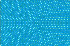 Σχέδιο κινούμενων σχεδίων με τους κύκλους, ημίτονο διαστιγμένο υπόβαθρο σημείων λαϊκό ύφος τέχνης κίτρινο και μπλε χρώμα επίσης c Στοκ Φωτογραφία
