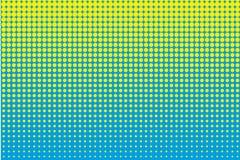 Σχέδιο κινούμενων σχεδίων με τους κύκλους, ημίτονο διαστιγμένο υπόβαθρο σημείων λαϊκό ύφος τέχνης κίτρινο και μπλε χρώμα επίσης c Στοκ Εικόνα