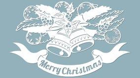 Σχέδιο, κλάδος με τα παιχνίδια και τα κουδούνια Πρόσκληση Χριστουγέννων με ένα παιχνίδι Χριστουγέννων διάνυσμα cliche Χριστούγενν απεικόνιση αποθεμάτων