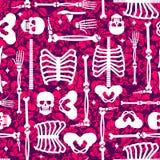 Σχέδιο κόκκαλων και λουλουδιών άνευ ραφής Κρανίο σκελετών και ΤΣΕ τριαντάφυλλων απεικόνιση αποθεμάτων