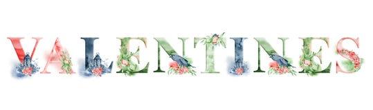 Σχέδιο λέξης watercolor βαλεντίνων με τις floral ανθοδέσμες και την κορώνα Συρμένη χέρι εγγραφή, επιγραφή τυπογραφίας Ετικέτα έμπ Στοκ Εικόνες