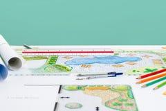 Σχέδιο λιμνών κατωφλιών σχεδίου αρχιτεκτόνων τοπίου για το θέρετρο στοκ εικόνες
