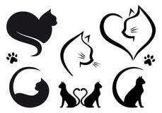Σχέδιο λογότυπων γατών, διανυσματικό σύνολο Στοκ Φωτογραφία