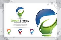 Σχέδιο λογότυπων ενεργειακής πράσινο έξυπνο ιδέας διανυσματικό με τη σύγχρονη έννοια ύφους χρώματος, ψηφιακός λαμπτήρας καινοτομί ελεύθερη απεικόνιση δικαιώματος