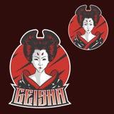 Σχέδιο λογότυπων μασκότ κοριτσιών της Ιαπωνίας γκείσων esports για την αθλητική ομάδα διανυσματική απεικόνιση