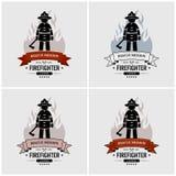 Σχέδιο λογότυπων πυροσβεστών απεικόνιση αποθεμάτων