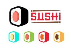 Σχέδιο λογότυπων σουσιών Ιαπωνικά τρόφιμα εστιατορίων θαλασσινών Καθορισμένα σούσια απεικόνιση αποθεμάτων