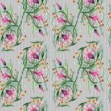 Σχέδιο λουλουδιών διακοσμήσεων Wildflower σε ένα ύφος watercolor Στοκ εικόνα με δικαίωμα ελεύθερης χρήσης