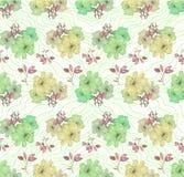 Σχέδιο λουλουδιών στις πράσινες και κίτρινες σκιές πρότυπο άνευ ραφής ελεύθερη απεικόνιση δικαιώματος