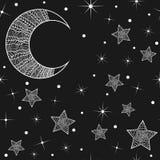 Σχέδιο με συρμένα το χέρι φεγγάρι και τα αστέρια απεικόνιση αποθεμάτων