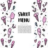Σχέδιο με συρμένες τις χέρι απεικονίσεις του παγωτού Στοκ εικόνες με δικαίωμα ελεύθερης χρήσης
