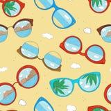 Σχέδιο με τα διαφορετικά γυαλιά ηλίου Γυαλιά με το γυαλί και την αντανάκλαση καθρεφτών απεικόνιση αποθεμάτων