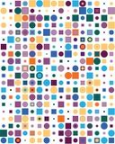 Σχέδιο με τα ζωηρόχρωμα τετράγωνα και τα σημεία στοκ εικόνες