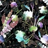 Σχέδιο με τα μαύρους λουλούδια και τους κλάδους διανυσματική απεικόνιση