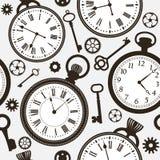 Σχέδιο με τα παλαιά και σύγχρονα πρόσωπα ρολογιών και τα κλειδιά απεικόνιση αποθεμάτων