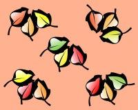 Σχέδιο με τα χρωματισμένα φύλλα στο ήρεμο υπόβαθρο κρητιδογραφιών ελεύθερη απεικόνιση δικαιώματος