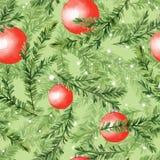Σχέδιο με τους κλάδους δέντρων έλατου και τις σφαίρες Χριστουγέννων Στοκ φωτογραφίες με δικαίωμα ελεύθερης χρήσης