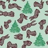 σχέδιο με το κουνέλι Κουνέλι και fir-trees, για την εκτύπωση στο ύφασμα, έγγραφο ελεύθερη απεικόνιση δικαιώματος