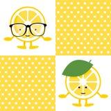 Σχέδιο με το χαριτωμένο χαρακτήρα χαμόγελου λεμονιών στα γυαλιά απεικόνιση αποθεμάτων