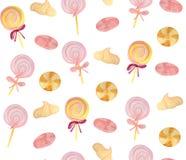 Σχέδιο με marshmallows, τις μαρέγκες και τις καραμέλες στοκ εικόνα με δικαίωμα ελεύθερης χρήσης