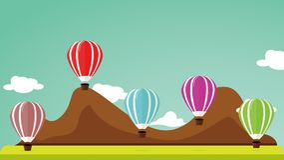 Σχέδιο μπαλονιών αέρα, με το όμορφο σκηνικό βουνών Μεγάλος για ένα φεστιβάλ μπαλονιών αέρα Στοκ Φωτογραφία