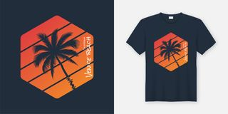 Σχέδιο μπλουζών και ενδυμασίας παραλιών Καλιφόρνιας Βενετία, τυπογραφία, απεικόνιση αποθεμάτων