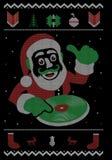 Σχέδιο μπλουζών ύφους κόμματος χορού Χριστουγέννων του DJ Santa διανυσματική απεικόνιση