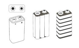 σχέδιο νικελίου 9 βολτ, αλκαλικών ή λίθιου μπαταριών Μπαταρία μέσα : απεικόνιση αποθεμάτων