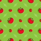 Σχέδιο ντοματών άνευ ραφής Κόκκινες ντομάτες σε ένα πράσινο υπόβαθρο, λεπτό σχέδιο γραμμών Στοκ εικόνες με δικαίωμα ελεύθερης χρήσης