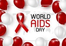 Σχέδιο Παγκόσμιας Ημέρας κατά του AIDS της κόκκινων κορδέλλας και του κόσμου με το μπαλόνι Στοκ φωτογραφία με δικαίωμα ελεύθερης χρήσης