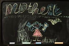 Σχέδιο παιδιών του mom με τα κραγιόνια Στοκ Εικόνα