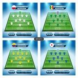 Σχέδιο παικτών ομάδων ποδοσφαίρου Ομάδα Χ με τις σημαίες ΠΟΛΩΝΊΑ, ΣΕΝΕΓΆΛΗ, ο ΣΥΝΤΑΓΜΑΤΆΡΧΗΣ ελεύθερη απεικόνιση δικαιώματος
