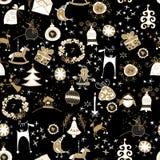 Σχέδιο πινάκων κιμωλίας με τα σύμβολα Χριστουγέννων Χριστούγεννα στοκ εικόνες