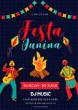 Σχέδιο προτύπων ή ιπτάμενων κόμματος Junina Festa με τα βραζιλιάνα άτομα που παίζουν το όργανο μουσικής διανυσματική απεικόνιση
