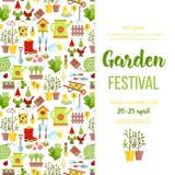 Σχέδιο προτύπων αφισών εμβλημάτων φεστιβάλ κήπων Invitationholiday πρόσκληση εικονιδίων προσοχής κήπων Επίπεδο διάνυσμα ύφους κιν Στοκ Εικόνες