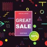 Σχέδιο προτύπων εμβλημάτων πώλησης επίσης corel σύρετε το διάνυσμα απεικόνισης Στοκ Φωτογραφία