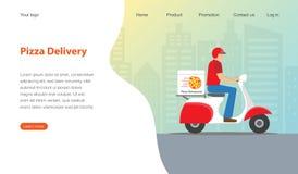 Σχέδιο προτύπων ιστοχώρου για το εστιατόριο πιτσών Σύγχρονο σχέδιο για την έννοια παράδοσης πιτσών διανυσματική απεικόνιση