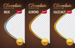 Σχέδιο προτύπων συσκευασίας φραγμών σοκολάτας Μαρκάροντας σχέδιο προϊόντων σοκολάτας Διανυσματική συσκευασία σχεδίου πολυτέλειας Στοκ Εικόνα