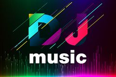 Σχέδιο προτύπων του DJ λογότυπων Διανυσματικό EPS 10 διανυσματική απεικόνιση