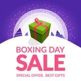 Σχέδιο πώλησης επόμενης μέρας των Χριστουγέννων με το κιβώτιο δώρων σε ένα χιόνι στοκ φωτογραφίες