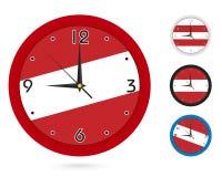 Σχέδιο ρολογιών τοίχων με τη εθνική σημαία της Αυστρίας Διαφορετικό σχέδιο τέσσερα απεικόνιση αποθεμάτων
