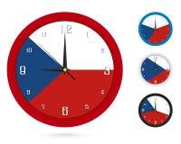 Σχέδιο ρολογιών τοίχων με τη εθνική σημαία της Δημοκρατίας της Τσεχίας Διαφορετικό σχέδιο τέσσερα διανυσματική απεικόνιση