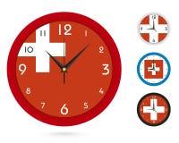 Σχέδιο ρολογιών τοίχων με τη εθνική σημαία της Ελβετίας, διαφορετικό σχέδιο τέσσερα ελεύθερη απεικόνιση δικαιώματος