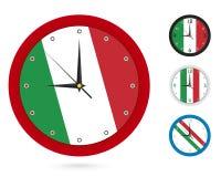 Σχέδιο ρολογιών τοίχων με τη εθνική σημαία της Ιταλίας Διαφορετικό σχέδιο τέσσερα διανυσματική απεικόνιση